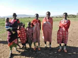 A group of women and children who live in the boma.